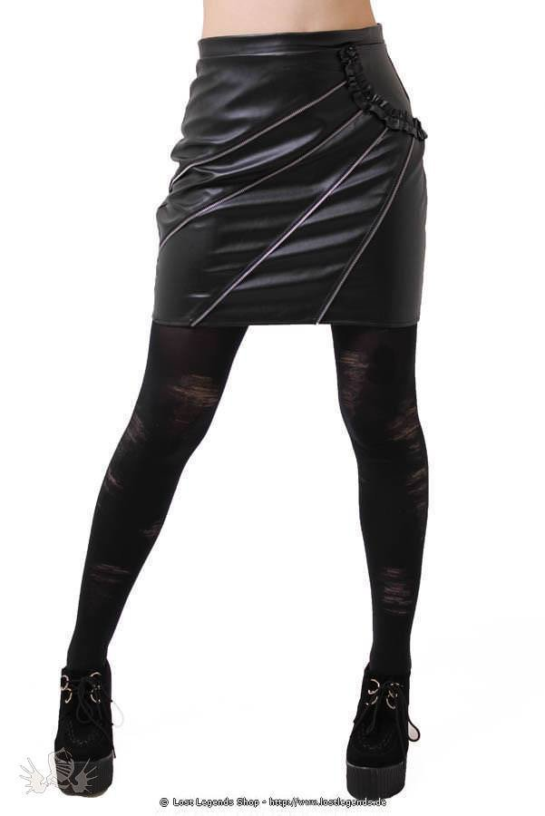 4 Zip Faux Leather Skirt
