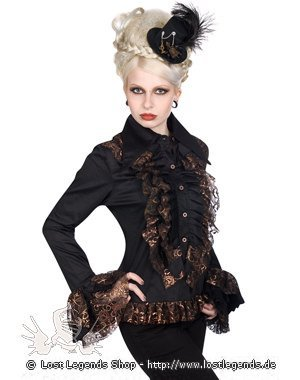 Aderlass Riffle Blouse Steampunk Black-Copper