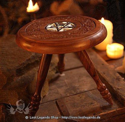 Altartischchen mit Metallpentakel, 22cm