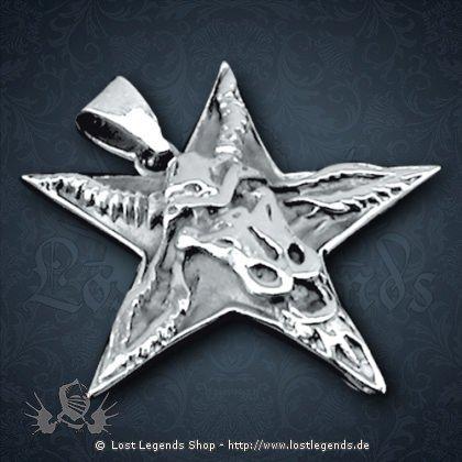 Anhänger Baphomet Pentagramm Silber