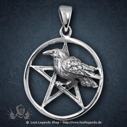 Anhänger Pentagramm mit Rabe, Silber