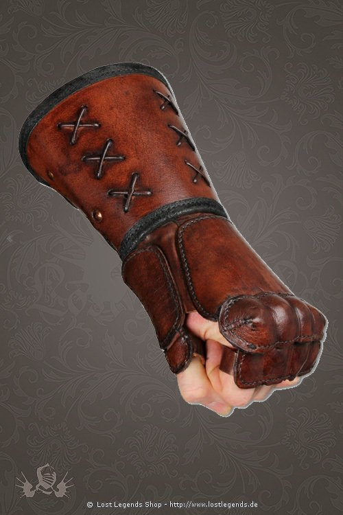Armschienen leather gauntlet braun, linke Hand