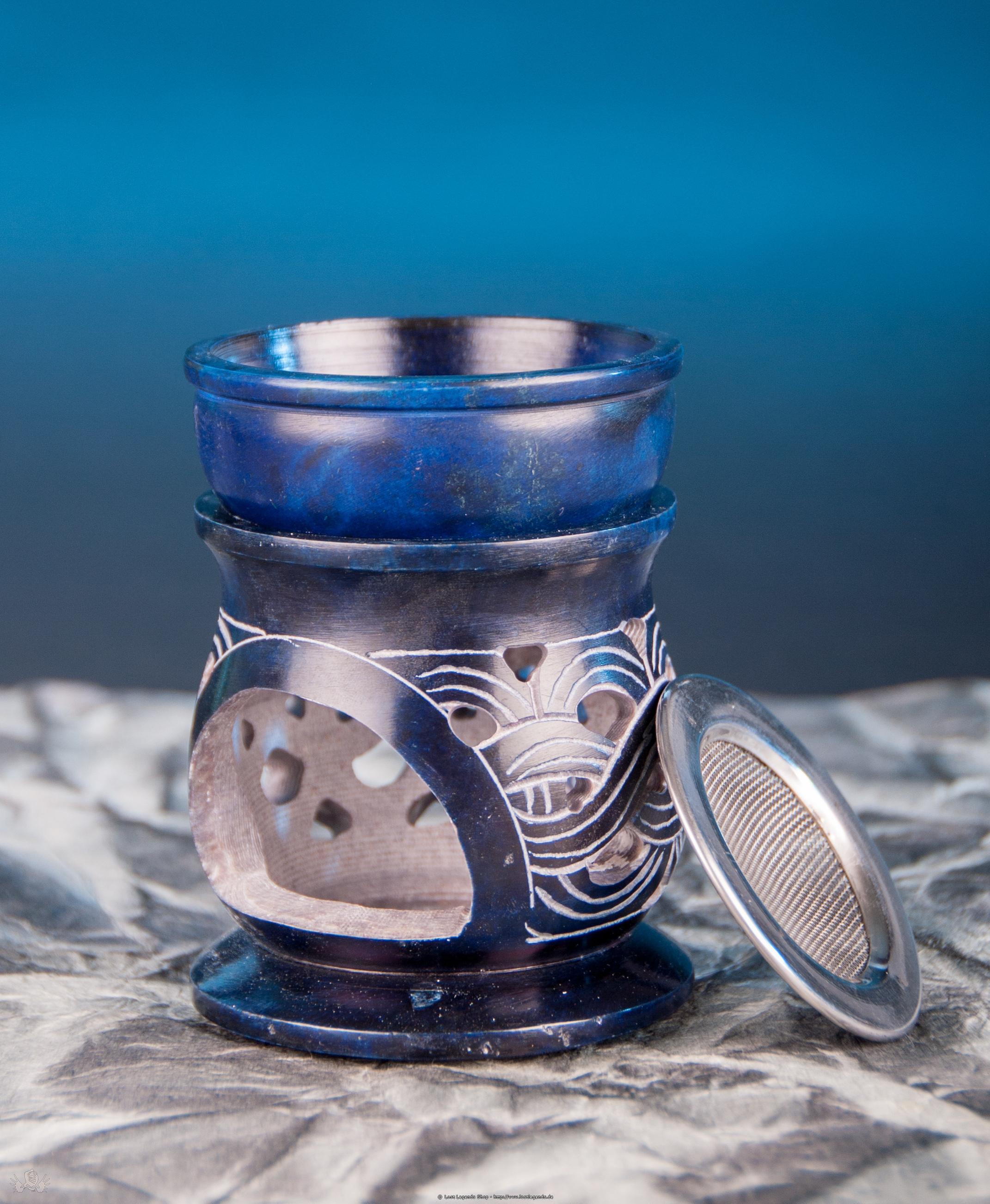 Aromalampe Keltischer Knoten mit Sieb Speckstein blau