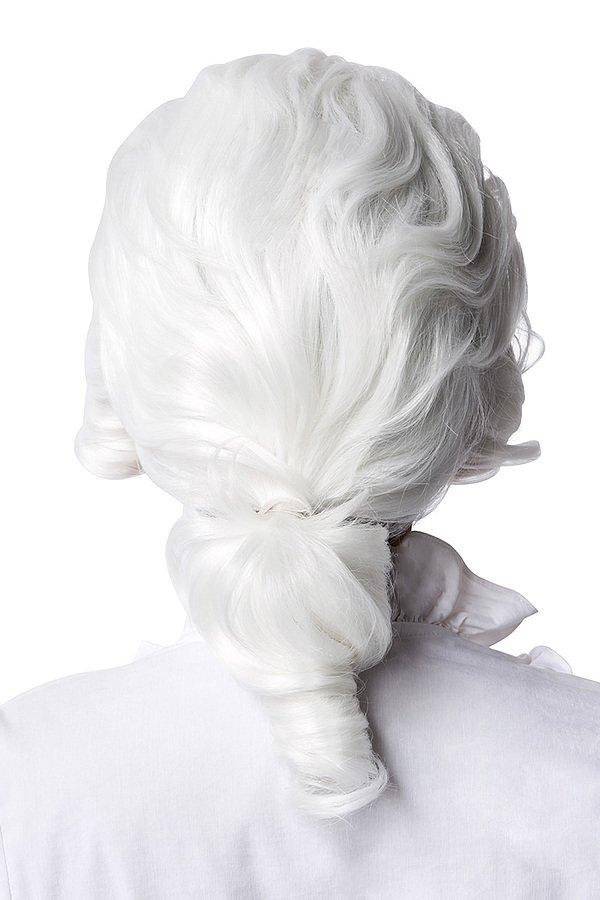 Barock Perücke mit Zopf weiß