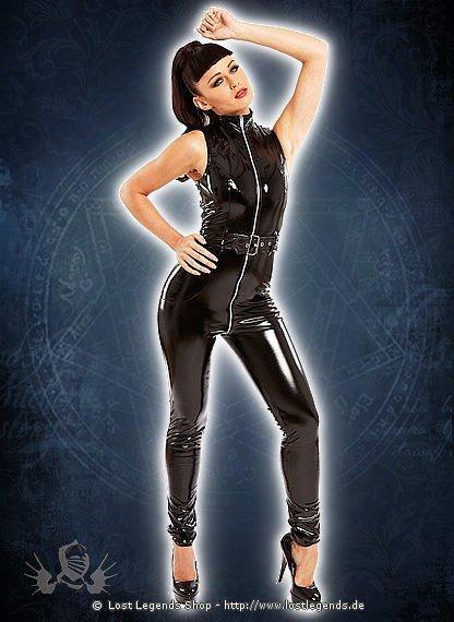 Belted Diva Catsuit Black Lack