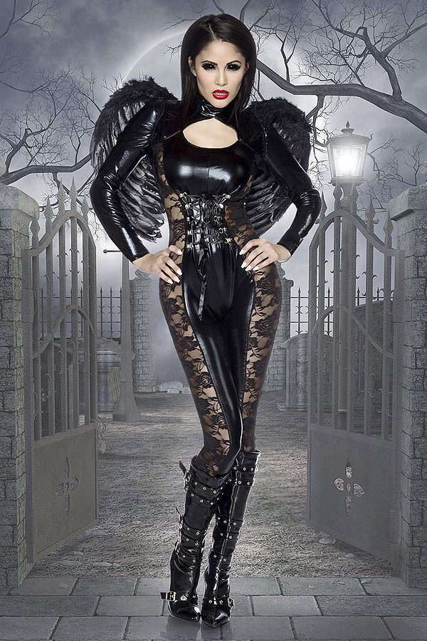 Black-Angel-Halloween-Kostüm schwarz