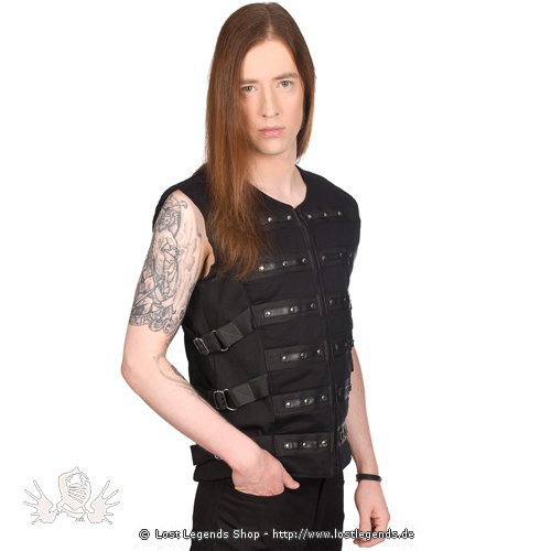 Black Pistol Button Vest Denim