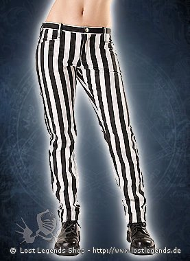 Black Pistol Close Pants Stripe Black & White