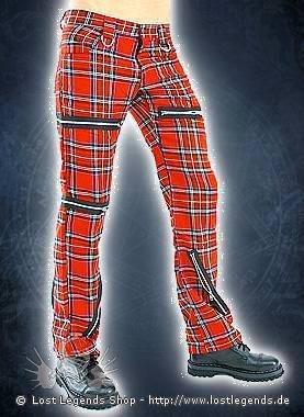 Black Pistol Destroy Pants Tartan Red