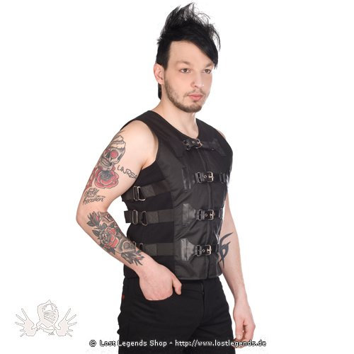 Black Pistol Girdle Vest Denim