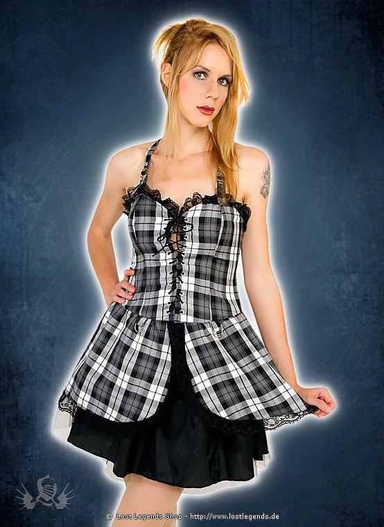 Black Pistol Punk Mini Dress Black-White, Tartan
