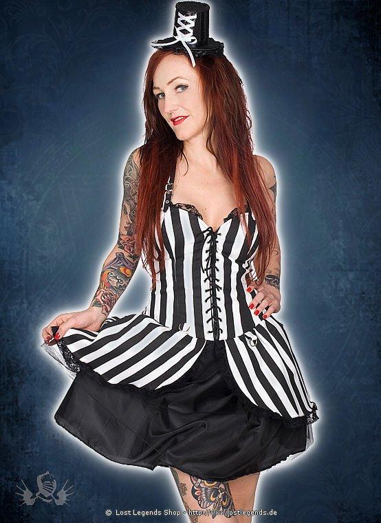 Black Pistol Punk Mini Dress Stripe Denim