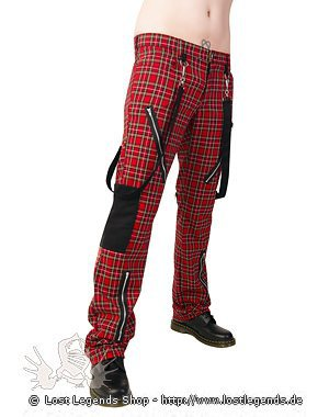 Black Pistol Punk Pants Tartan Red-Green