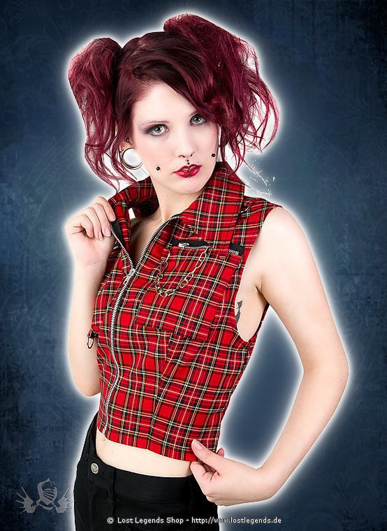Black Pistol Punk Vest Tartan Red