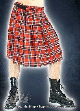 Black Pistol Short Kilt Tartan Red