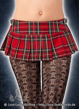 Black Pistol Short Mini Tartan, Red