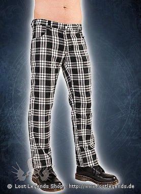 Black Pistol Tartan Pants Black-White