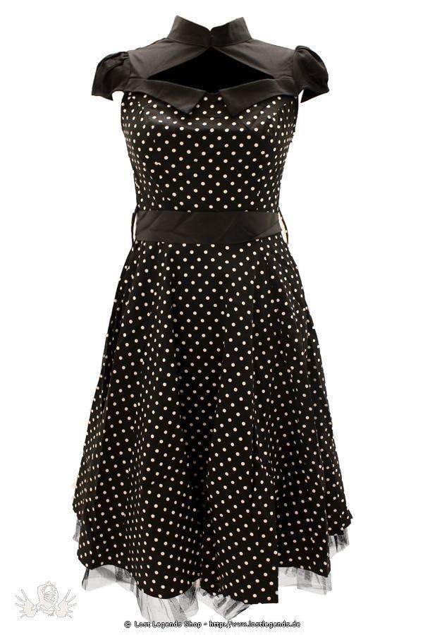 Black Polka Dot Flare Gothic Kleid