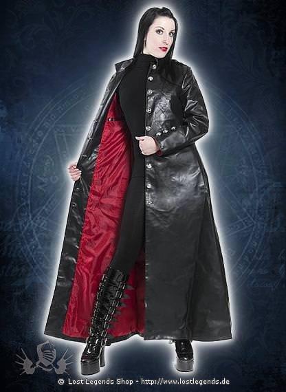Black Steam Coat Mantel, Kunstleder