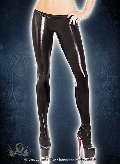 Black Wetlook Leggings With Feet Wetlook