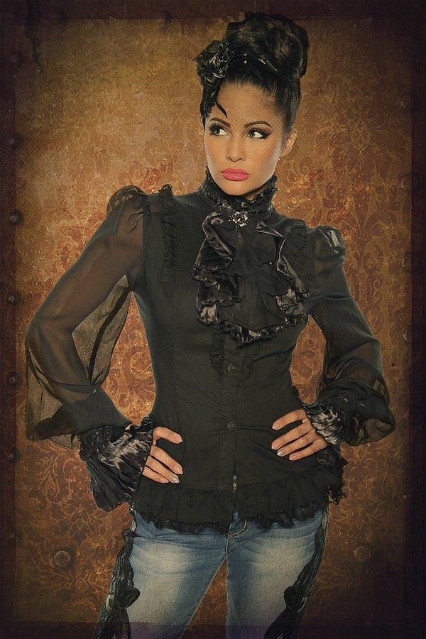 Viktorianische Bluse  mit Jabot