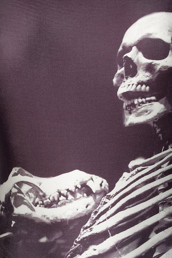 Body mit Skelett schwarz/weiß