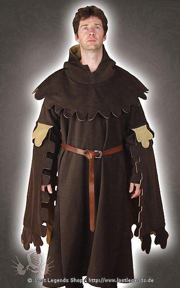 Braune Mittelalter Kleidung mit Zackensaum