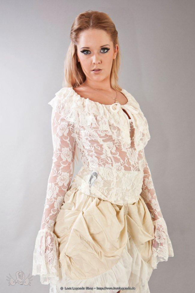 Brenda Steampunk Spitzenbluse Cream Lace