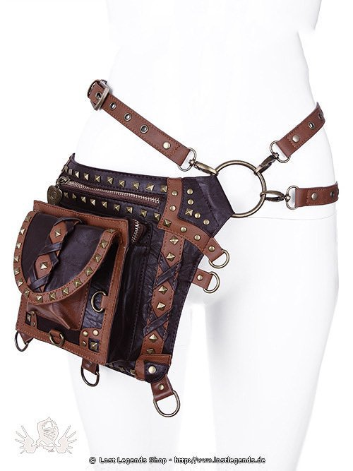 Brown studded holster bag Steampunk Tasche