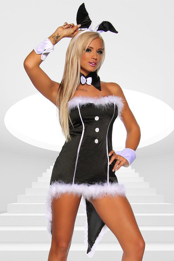 Bunny-Kostüm schwarz/weiß