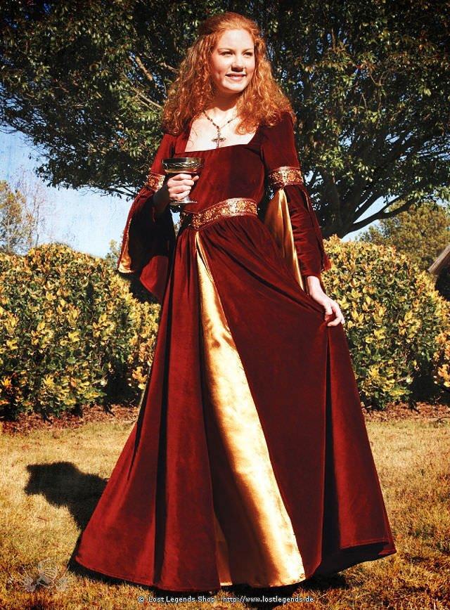 Burgundisches Samt-Kleid Mittelalter Kleidung