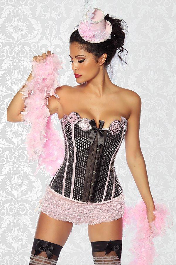 Burlesque-Corsage mit Pailletten schwarz/silber