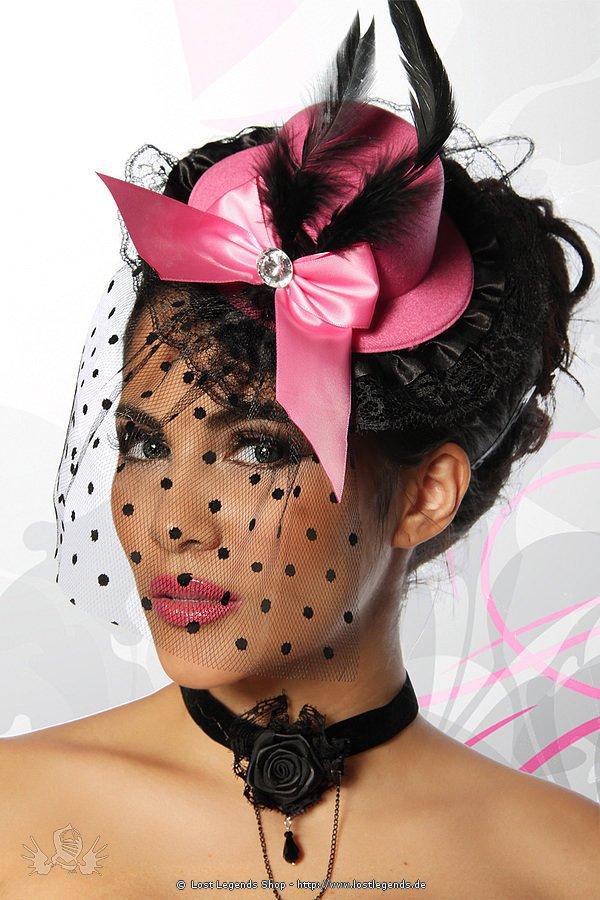 Burlesque-Minihut rosa/schwarz