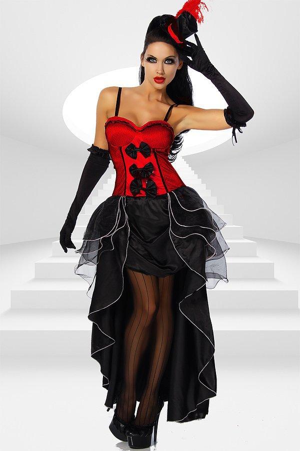 Cabarett-Kostüm rot/schwarz
