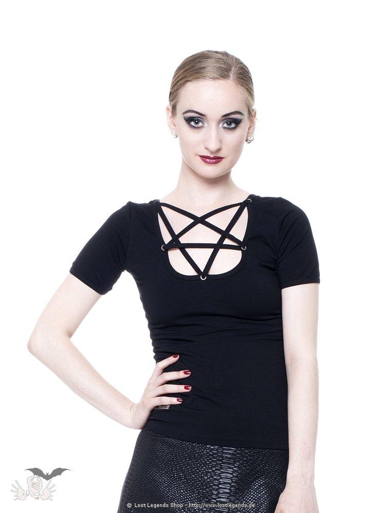 Casual Gothic Top mit Pentagramm Ausschnitt