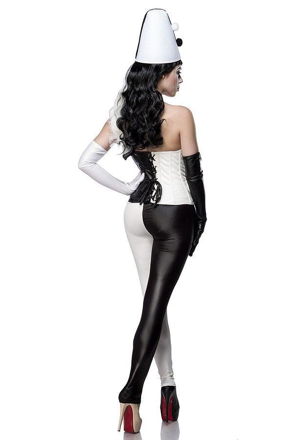 Classic Harlequin Kostümset schwarz/weiß