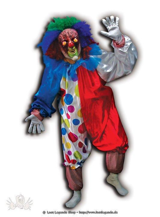 Crazy Clown Kostüm mit Latex Maske