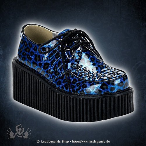 Demonia CREEPER-208 Blue Cheetah Glitter Patent Leather