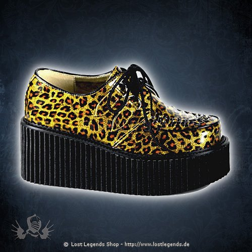Demonia CREEPER-208 Gold Cheetah Glitter Patent Leather
