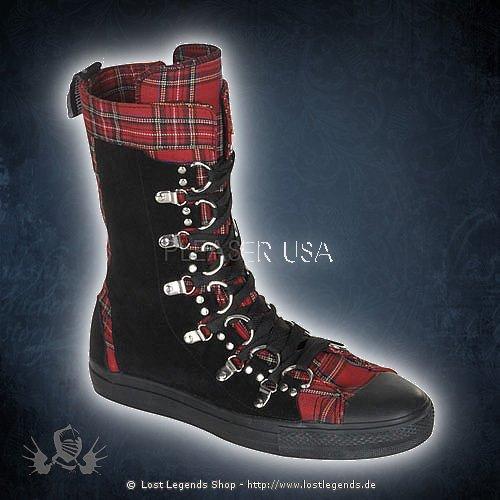 Demonia DEVIANT-205 Red Plaid-Black