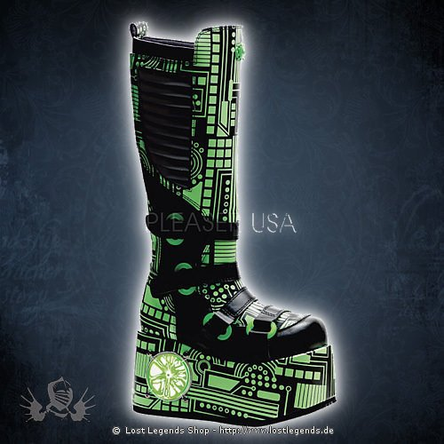 Demonia TECHNO-856UV Black Leatherette-UV Lime
