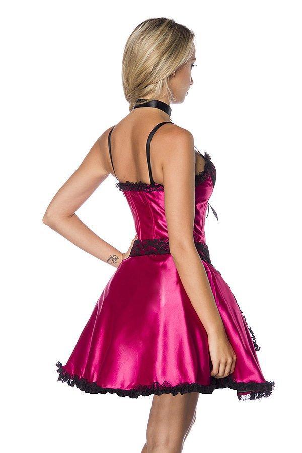 Dirndl aus Satin pink/schwarz