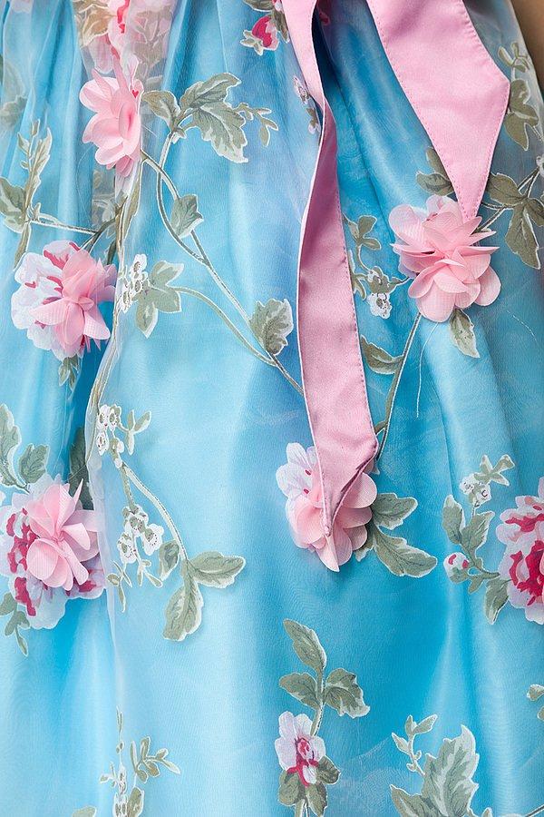 Dirndl mit Blumenschürze blau/pink