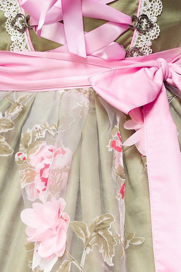 Dirndl mit Blumenschürze grün/pink