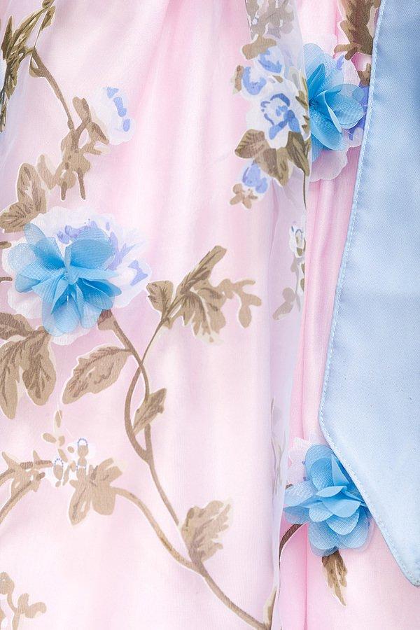 Dirndl mit Blumenschürze rosa/blau