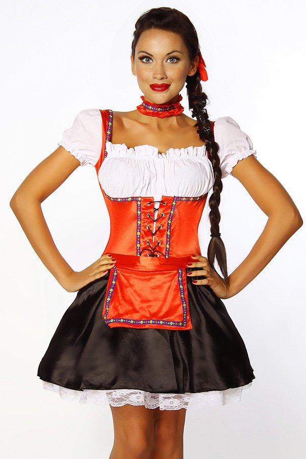 Dirndl schwarz/rot/weiß