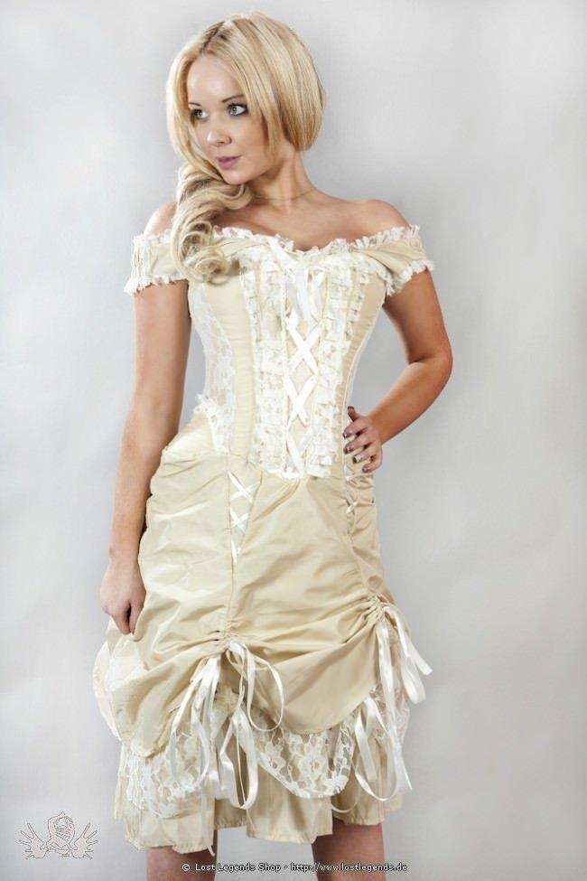 Dita Steampunk Korsett-Kleid Creme