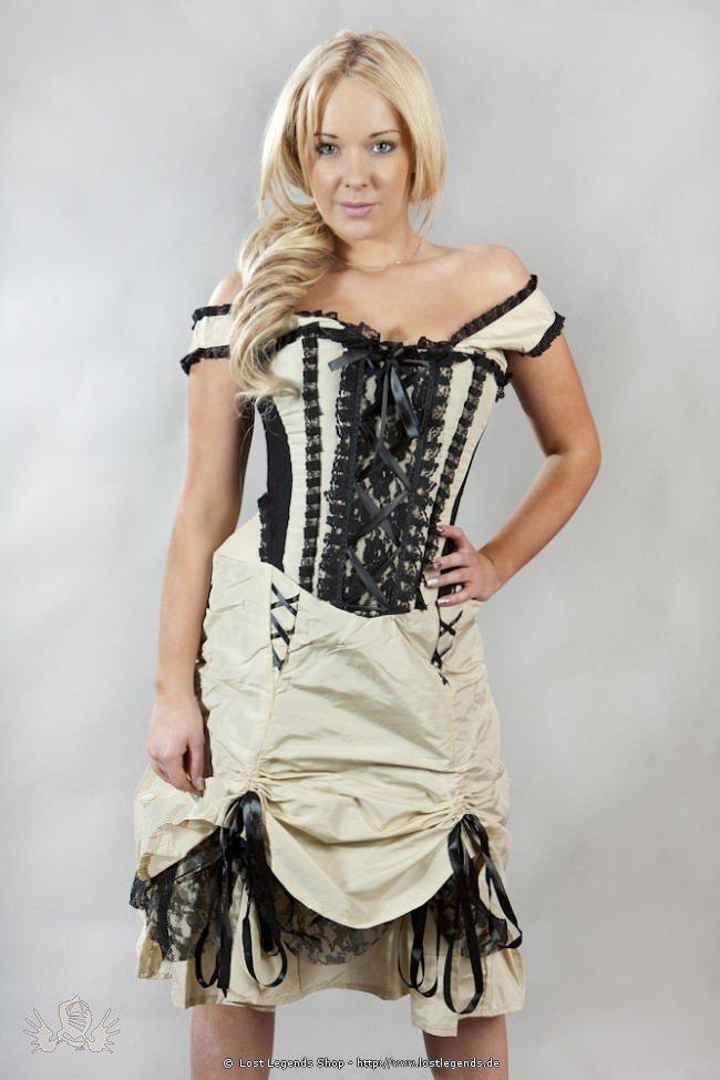 Dita Steampunk Korsett-Kleid Creme-Schwarz