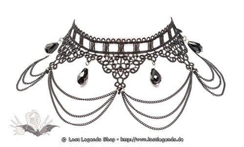 Edles Halsband aus Spitze mit Ketten und schwarzen Kristallen