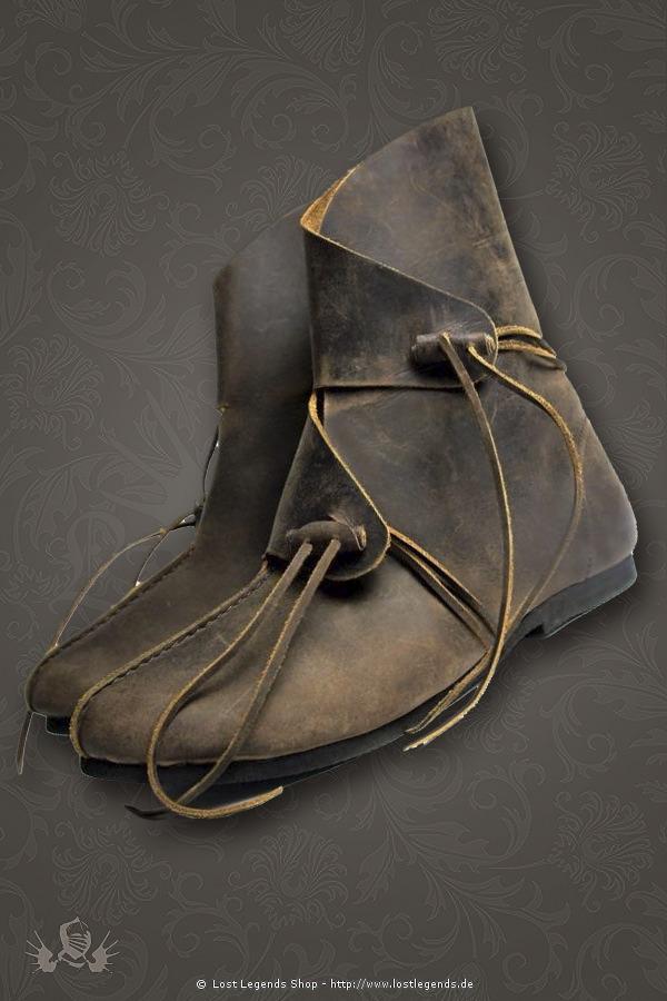 Einfache Wikingerstiefel Halbstiefel aus Leder